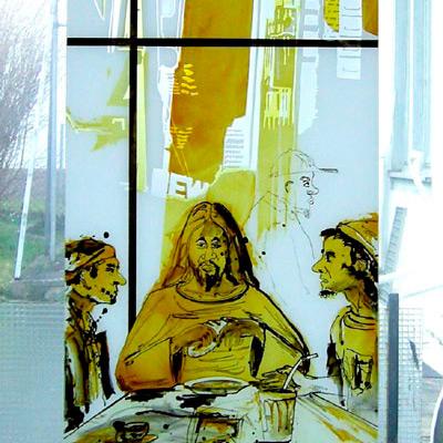 06.03.2008. – Glasbild Eingang von Joachim Sauter für das Gemeindezentrum Bad Rappenau, Werkstattaufnahme